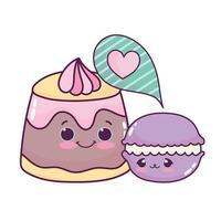 Cute food gelatina crema y macarrones postre dulce pastelería dibujos animados diseño aislado
