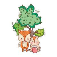 cute animals, little fox and beaver with tree apple cartoon vector