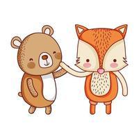 cute animals, little bear and fox cartoon isolated icon design vector