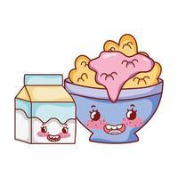 desayuno lindo tazón con cereal yogur y caja de leche cartoon vector