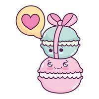lindo, comida, pila, de, macarrones, dulce, postre, pastelería, caricatura, aislado, diseño