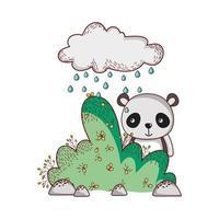 cute animals, panda cloud rain bushnature vector