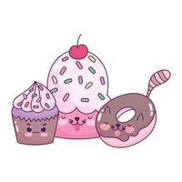 Cute food chocolate donut y cupcakes postre dulce pastelería dibujos animados diseño aislado