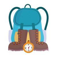 mochila de camping botas y equipo de brújula de dibujos animados