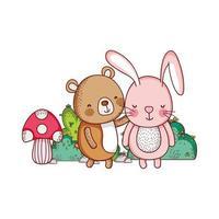 cute animals, rabbit bear bush mushroom nature cartoon vector