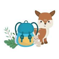 camping cute deer rabbit and backpack foliage cartoon vector