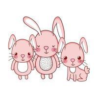 Animales lindos, conejitos adorables dibujos animados diseño de icono aislado