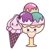 cute food ice cream scoops and cone sweet dessert pastry cartoon isolated design vector