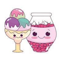 Cute food ice cream scoops y jar con cerezas postre dulce pastelería diseño aislado de dibujos animados vector