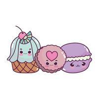 Cute food cupcake cookie y macarrones postre dulce pastelería dibujos animados diseño aislado