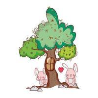 animales lindos, conejitos árbol follaje naturaleza botánico diseño aislado vector