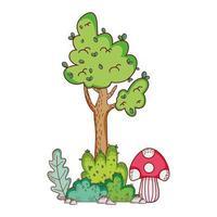 tree mushroom branch leaves foliage nature cartoon vector