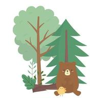camping bear and chicken trees cartoon isolated icon design vector