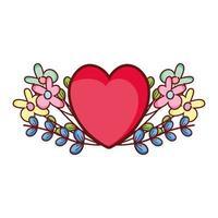 red heart love flowers foliage romantic cartoon vector
