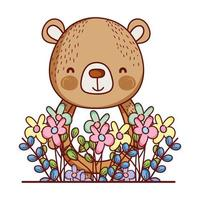 animales lindos, osito flores hojas follaje dibujos animados vector