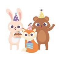 feliz día, oso zorro conejo con sombrero de fiesta pastel y regalo
