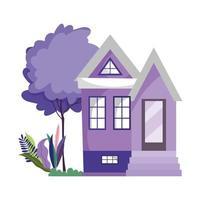 house structure garden tree botanical scene design cartoon vector