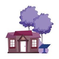 energía ecológica paneles solares sostenibles casa fuera de dibujos animados vector