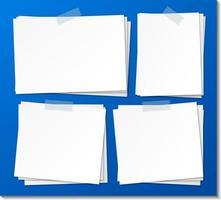 conjunto de plantilla de papel de nota adhesiva vacía