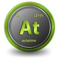 elemento químico astato. símbolo químico con número atómico y masa atómica.