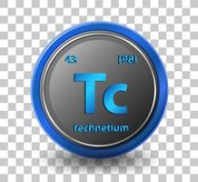Technetium chemical element. Chemical symbol with atomic number and atomic mass.