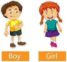 Palabras adjetivas opuestas con niño y niña sobre fondo blanco. vector