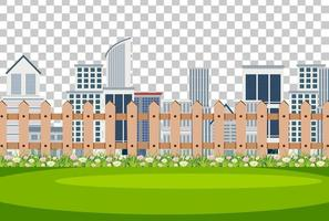 City scene with fence on transparent background vector