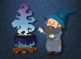 Little wizard cartoon character with potion pot