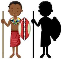 Set of people of African tribes character with its silhouette vector