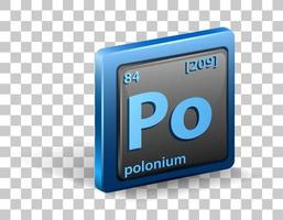Polonium chemical element. Chemical symbol with atomic number and atomic mass.