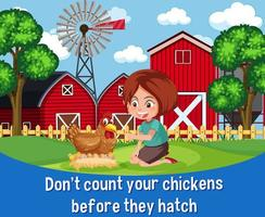 English idiom with picture description for don't count your chickens before they hatch vector