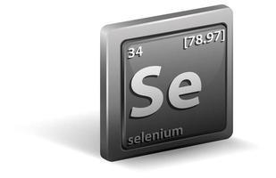 elemento químico selenio. símbolo químico con número atómico y masa atómica.