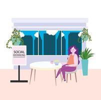 restaurant social distancing, woman eating noodles in bowl keep a safe distance, prevention covid 19 coronavirus vector