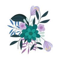 flores hojas follaje naturaleza decoración icono aislado vector