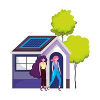 eco friendly, women eco house with solar panel energy sustainable vector