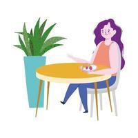restaurante distanciamiento social, mujer comiendo frutas sola en la mesa, prevención covid 19 coronavirus vector