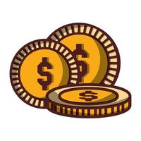 coins money dollar cash icon isolated design shadow