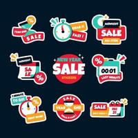 New Year Sale Stickers vector