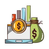 money business laptop money chart financial icon isolated design shadow vector