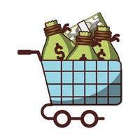 shopping cart with bag money and banknotes icon isolated design shadow vector