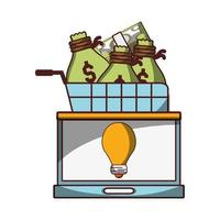 laptop business financial shopping cart with money bags and banknotes laptop vector