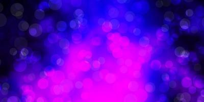 Dark Purple vector background with bubbles.