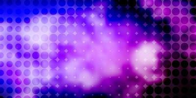 patrón de vector púrpura claro con círculos.