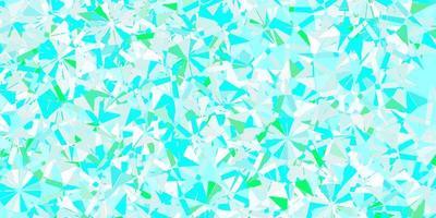 diseño de vector azul claro, verde con hermosos copos de nieve.