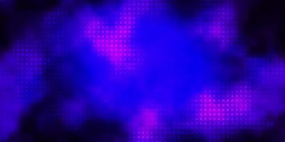 Dark Purple vector background with bubbles.