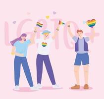 comunidad lgbtq, jóvenes con banderas y arco iris de corazón, desfile gay protesta por discriminación sexual vector