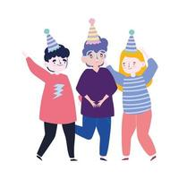 meeting friends, people group with hats celebrating party event cartoon vector