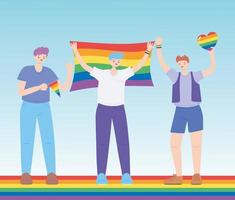 LGBTQ community, young men character with rainbow flags, gay parade sexual discrimination protest vector