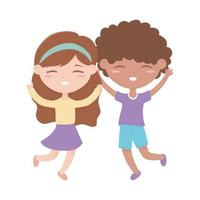 happy little boy and girl cartoon character isolated design vector