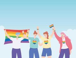 LGBTQ community, happy group people tolerance celebration, gay parade sexual discrimination protest vector
